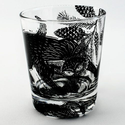 Whiskey tumbler Fox hunting in a Pine woodland