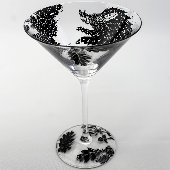 Martini cocktail glass features Wild Boar in a blackberry hedgerow