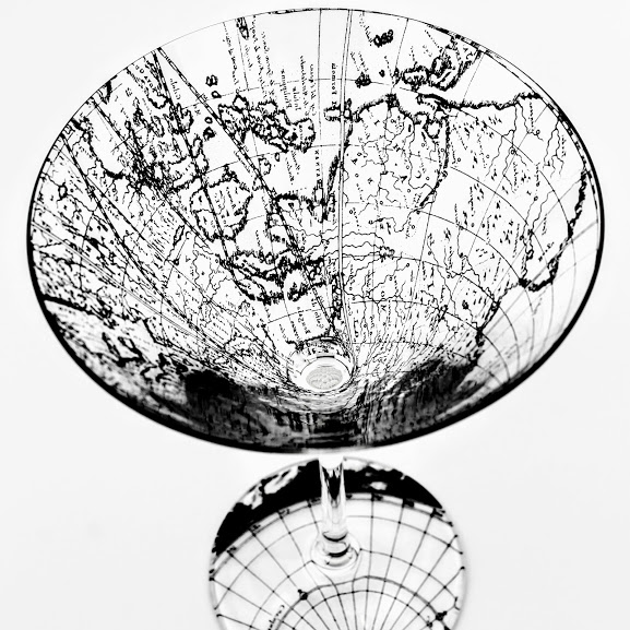 Martini Glass decorated with sections of a antique Dutch map of the world