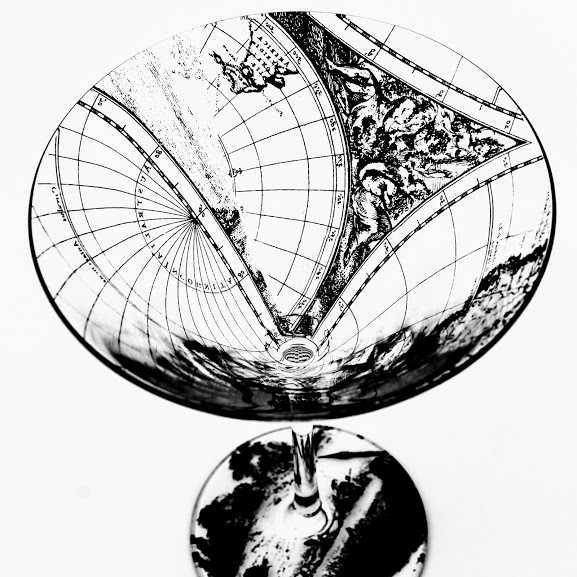 martini cocktail glass. Dutch golden age world map design
