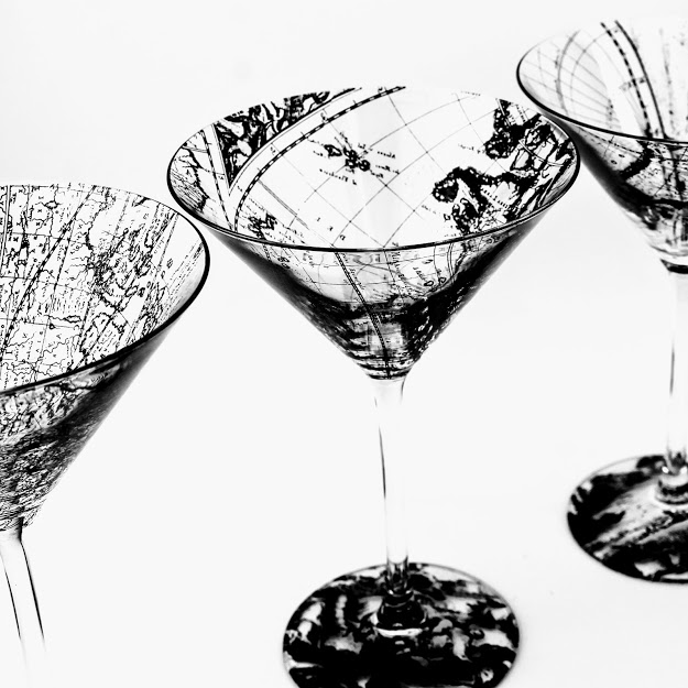Martini glasses decorated with antique 17th century world map