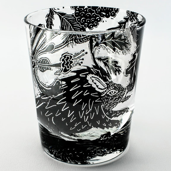 Whiskey Tumbler Wild boar in a british woodland scene