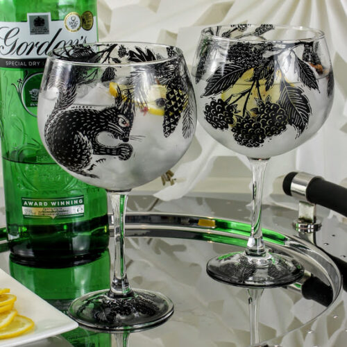 Gin and Tonic glasses woodland scene with squirrels and Gordons Gin