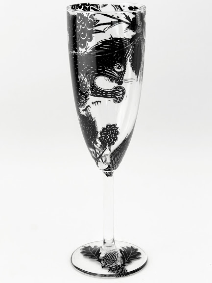 champagne flute squirrel and blackberry