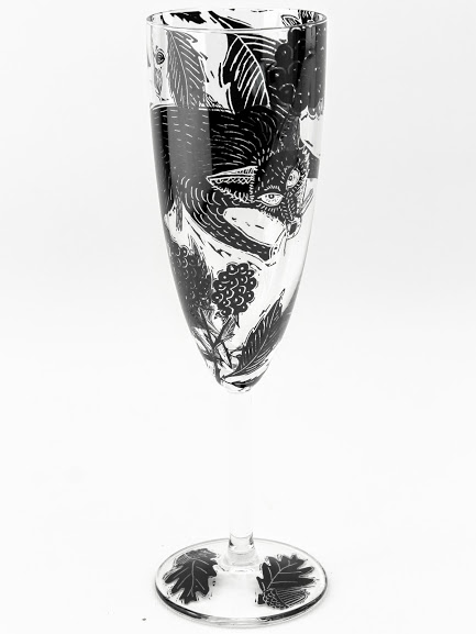 champagne flute fox in the brambles one off design