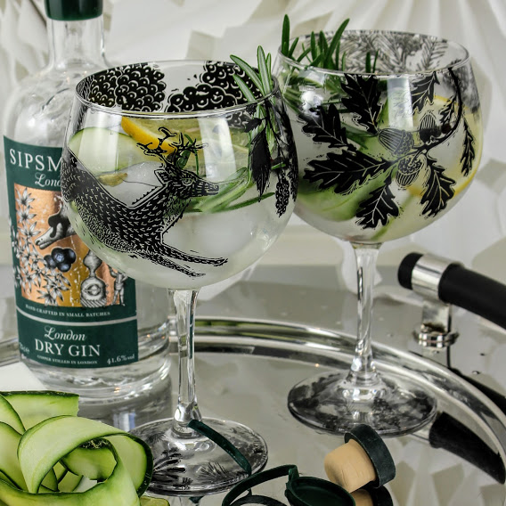 british woodland animal scene with deer, pair of gin glasses and sipsmith london dry gin