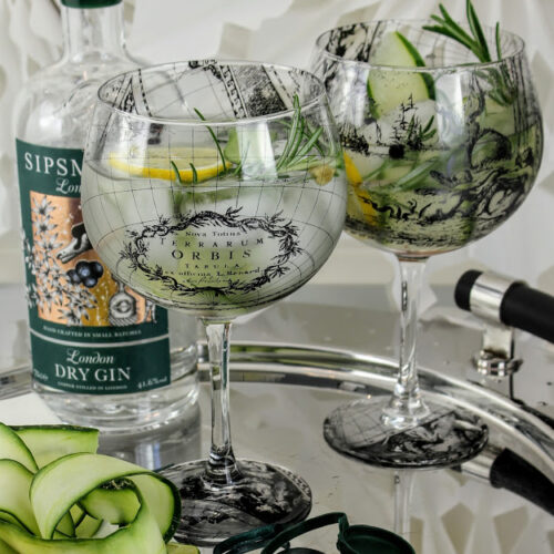 antique world map gin and tonic glasses with Sipsmith gin