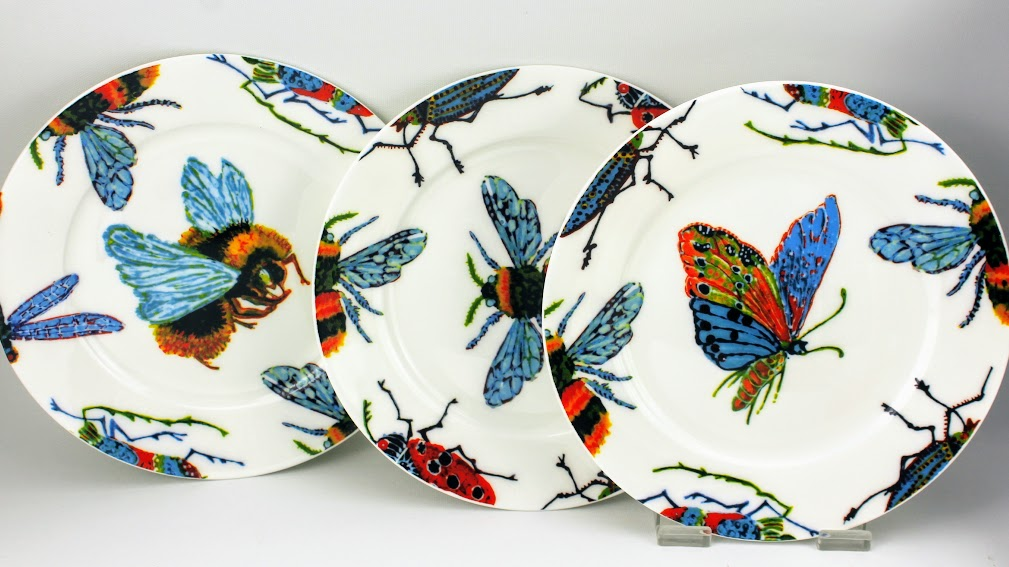 3 unique side plates in big bug insect design