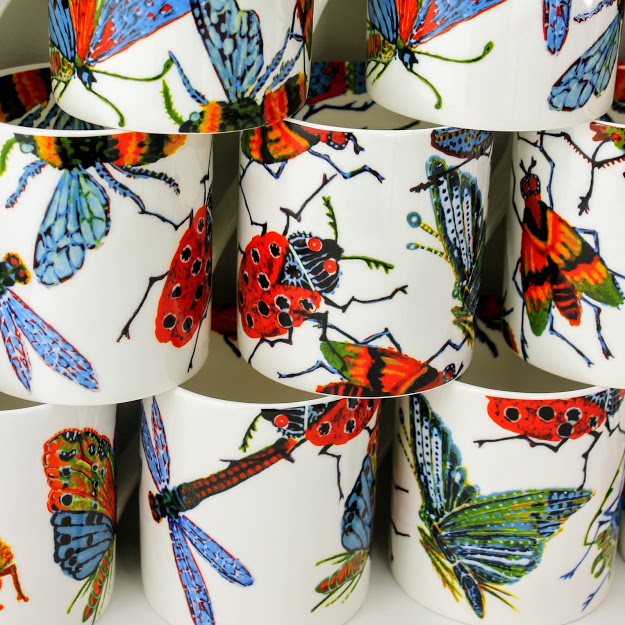 group of big bug mugs with dragonfly, ladybird, moths and bees