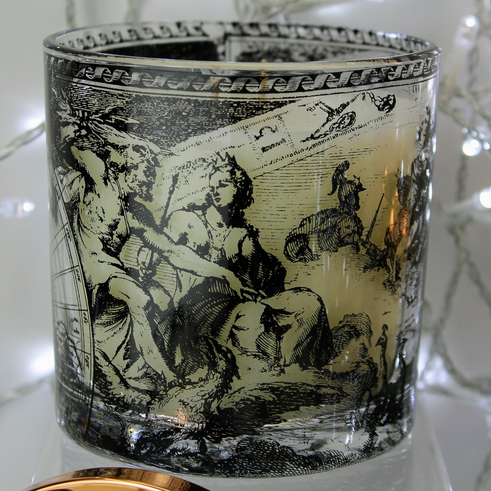 scented candle antique world map in a lidded jar