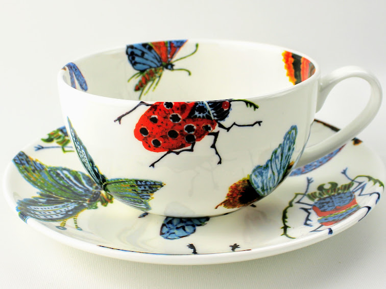 english bone china breakfast cup andsaucer with bees , moths, beetles, and dragon flys