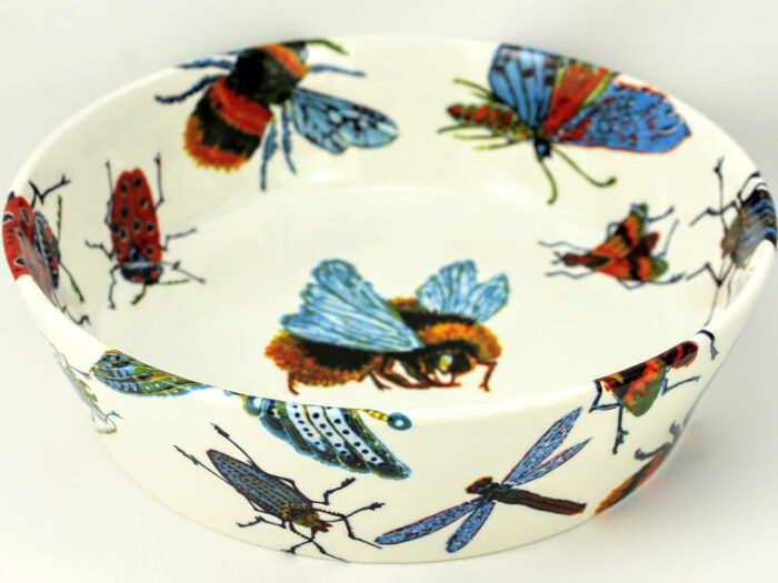 8 inch vegetable dish, bone china, insect design, bumblebee, dragonfly, fruitfly, ladybug and beetle