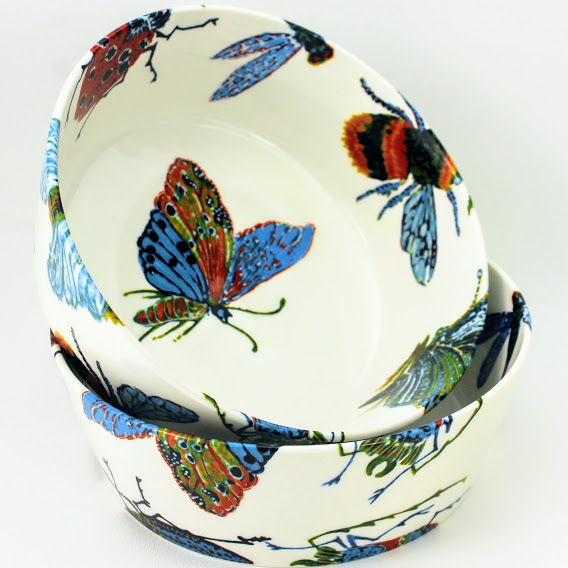 small serving bowl colourful bug design, bees, moths, butterfly