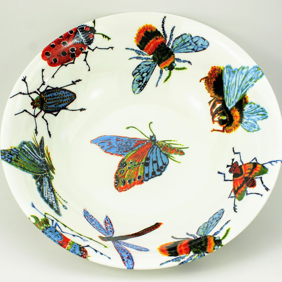 english bone china bowl decorated with beautiful big bug design
