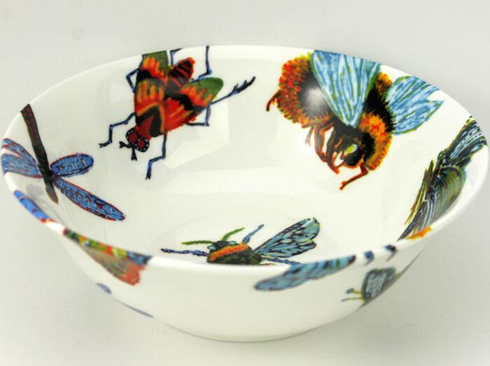 oatmealbone china bowl, hand decorated studio piece, big bug design