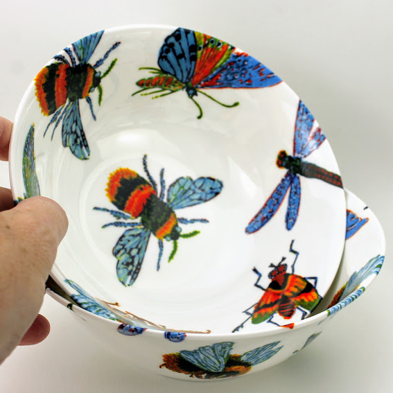 oatmeal bowl hand decorated with a swarm of beautiful insects