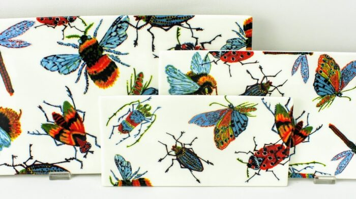 bonechina trays wih a swarm of insects, bees, beetle, butterfly and bugs