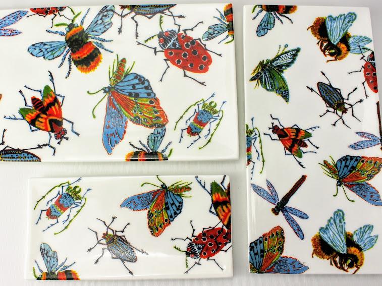 group of rectangular plates with big bugs