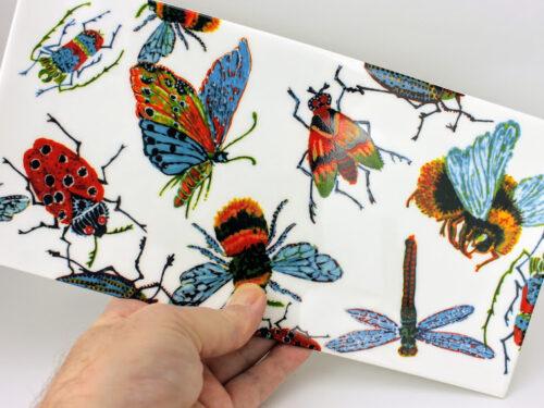 largesandwich tray, english bone china, colourful big insects