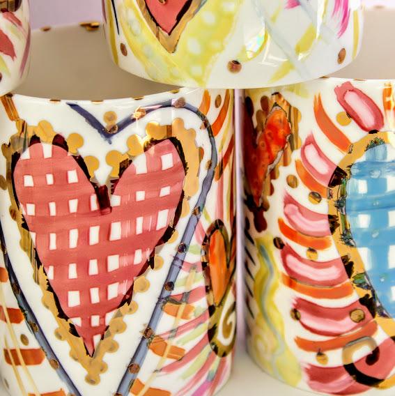 irredesant metallic lustre heart mugs
