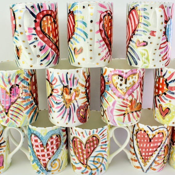 bone china lustre mugs, irredesant hearts with gold highlights