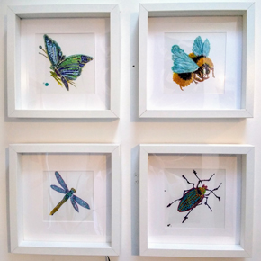 ceramic tile, hand painted insects, bumblebee, dragonfly, emerald moth and green beetle