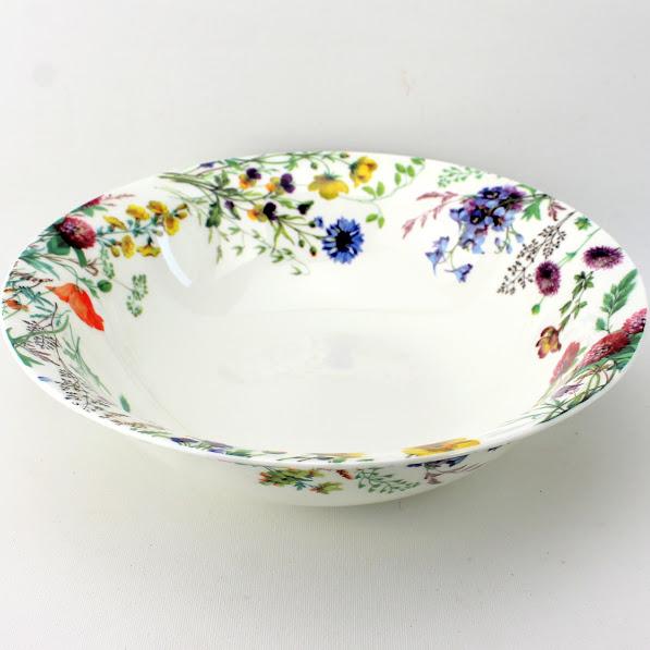 salad serving bowl English bone china, cornflowers, clover, buttercups