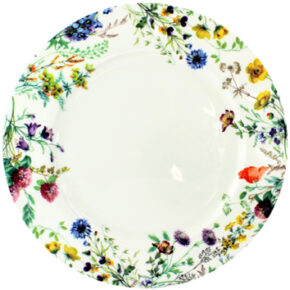 12 inch platter, english field flowers, clover and buttercup