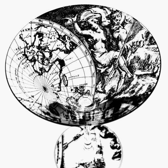 martini glass antique world map design