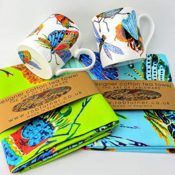 big bug insects on colourful tea towels and mugs