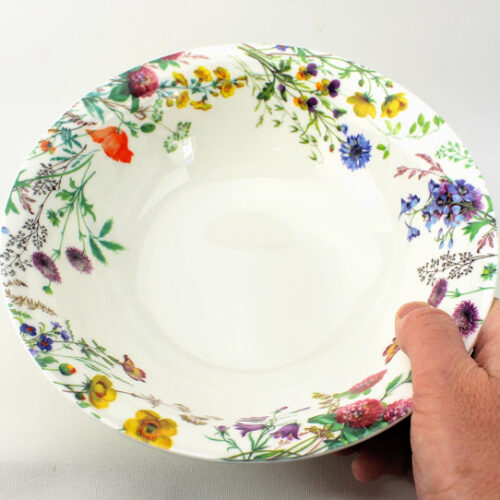 English bone china serving dish, cornflower, meadow sweet, yellow rattle and clover