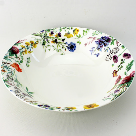 9 inch vegetable dish, british bone china, meadow flowers
