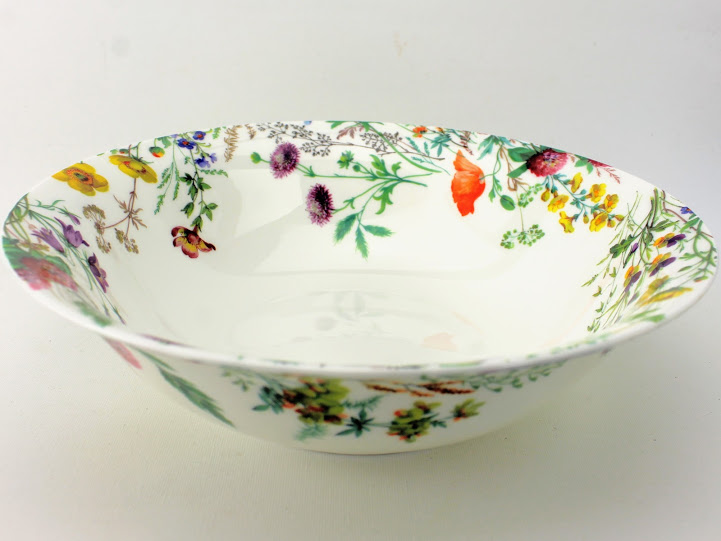 pottery vegetable dish, field flowers