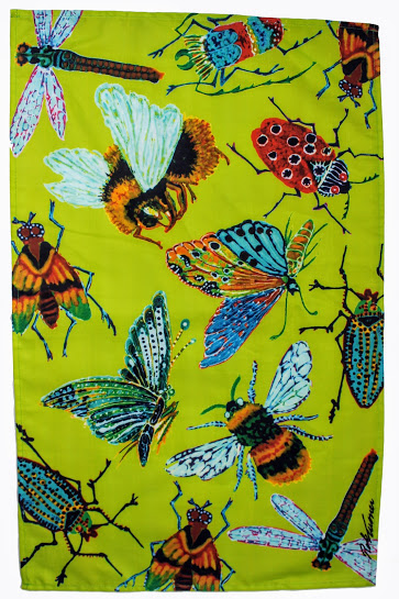 tea towel lime green giant insects, dragon fly, bumble bee, fruit fly and lady bird