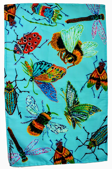 colourful giant insect tea towel