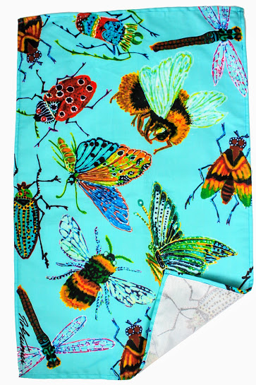 large bugs insect tea towel blue green